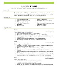 Free Resume Layout Fast Food Server Food Restaurant Resume Example