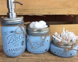dog faces ceramic bathroom accessories shabby chic: painted mason jars mason jar bathroom kit home decor bathroom decor gift vintage rustic shabby chic mason jar soap dispenser