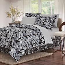 brown grey tribeca black 8 piece queen bed in bag set