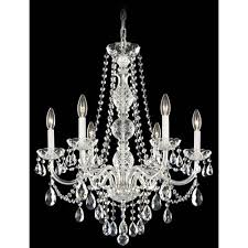schonbek arlington silver six light clear heritage handcut crystal chandelier 24w x 28h x 24d