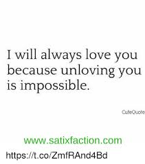 I Will Always Love You Quotes Interesting I Will Always Love You Because Unloving You Is Impossible Cute Quote