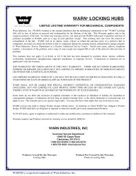 Warn Hub Application Chart Warn Locking Hubs Limited Lifetime Warranty For Mechanical