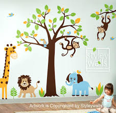 baby jungle wall decals children wall decal safari tree decal jungle animals decal huge children wall