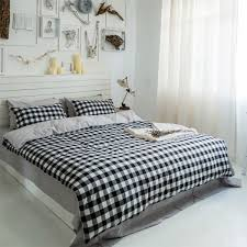 black and white small check design bedding set duvet cover comforter