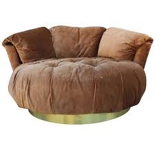 ultra plush circle milo baughman style lounge chair attached cushions seat is deeply tufted