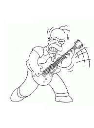 Kleurplaat Homer Simpson Is Aan Het Rocken Kleurplaatjecom