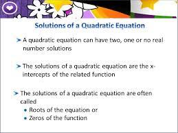 solutions of a quadratic equation