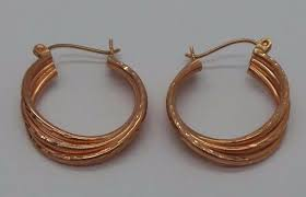 stunning 14k pink twisted hoop earring e11820 3 2 53 grams gold nbawgh6980 precious metal without stones