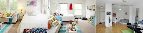 living room with bed:  beautiful bedroom with a living room and bright details