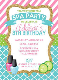 Spa Birthday Invitation Spa Party Invitation Sleepover