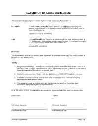 extension of a lease template by