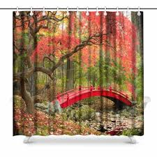 aplysia beautiful japanese garden and red bridge bathroom shower curtain accessories 72 inches shower curtains