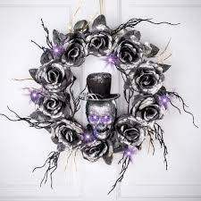 Lighted Skull Halloween Wreath With Black Roses By Collections Etc