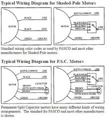 fasco information if the ground lead is present it will be green or green a yellow tracer the wiring diagram for all fasco motors is shown on the motor plate