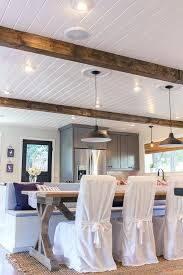 ceiling wall tongue groove planks lumber ators wood for beams t the windows paint white and tongue groove ceiling
