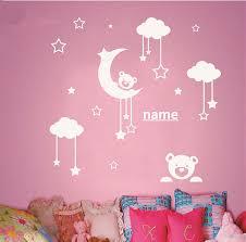 personalized name kids room cute teddy bear moon stars wall sticker baby nursery bedroom