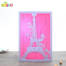 Fancy Designs For Cards Us 41 22 15 Off Best Sell Good Quality Pearl Paper Eiffel Tower Latest Wedding Card Designs Sweet Love Fancy Laser Cut Invitation Wedding Cards In