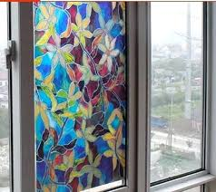 Bathroom Window Stunning Coloured Drawing Or Pattern Glass R Without Glue Film Balcony Door
