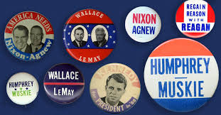 Presidential campaign buttons from 1956–1968