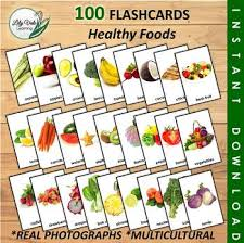 Food Flash Cards 100 Healthy Food Flashcards From Lilyvale Learning By Lilyvale