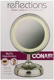 conair double sided lighted mirror satin nickel finish