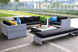 Beautiful Modern Wicker Patio Furniture Outdoor Gray Sofa Set Intended Perfect Ideas