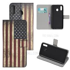 pattern printing leather wallet stand case for samsung galaxy a40 vintage american flag 1