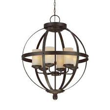 sfera 6 light autumn bronze chandelier with led bulbs