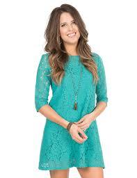 Wrangler Women S Turquoise Lace 3 4 Sleeve Dress Cavender S