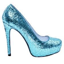 Light Blue Glitter Heels Womens Cinderella Blue Sparkly Crystals Glitter High Low Heels Wedding Bride Shoes