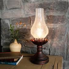 antique kerosene lamp ed glass shade single light table lamp metal round base