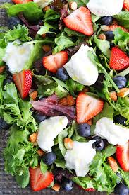 mixed green salad with strawberries. Simple Strawberries Berry Burrata And Almond Salad Recipe And Mixed Green With Strawberries E