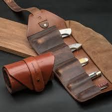leather pocket knife roll by garrett wade