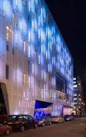 artificial light building facade of a downtown club building facade lighting