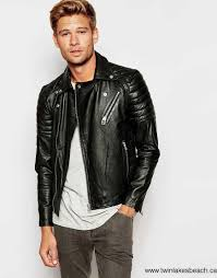 men s selected homme leather biker jacket with asymmetric zip your best choose