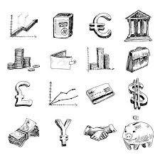 金融銀行ビジネスお金相場取引落書きゴールド アイコン セット分離