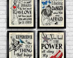 the wizard of oz art print set kid room decor oz wall art set of prints dictionary art print set of 4 prints gift for her movie poster 060 on wizard of oz wall art with wizard of oz etsy