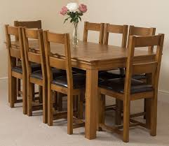 rustic leather dining chairs. French Chateau Rustic Solid Oak 180cm Dining Table With 8 Lincoln Chairs [ Leather F
