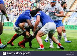 L´Italia va in meta during ITALIA vs FRANCIA - 6 Nazioni 2019, Roma, Italy,  16 Mar 2019, Rugby Nazionale Italiana di Rugby Stock Photo - Alamy