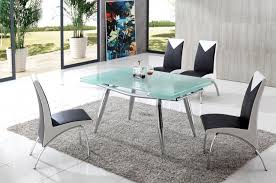 Frosted glass dinning table Nice Heavygadgets Samurai Frosted Glass Dining Table With Angel Dining Chairs Furniture