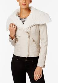 faux fur trim faux leather moto jacket guess