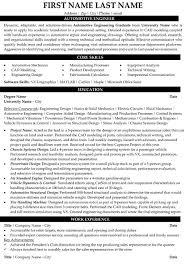 Automotive Engineer Resumes Automotive Engineer Resume Sample Template