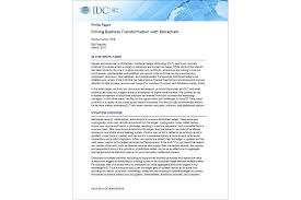 Business Paper Idc Report Driving Business Transformation With Blockchain Hpe
