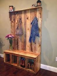 Coat And Boot Rack Entryway bench with coat boot rack made with repurposed pallets 78