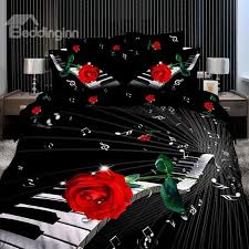 41 elegant piano with red rose 3d print 4 piece cotton duvet cover sets