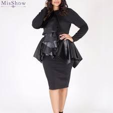 misshow plus size faux leather con dress women solid black long sleeve ruffle accent peplum dress