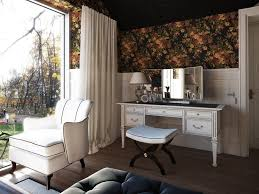 modern vanity table bedroom transitional with curtains dark ceiling ds1