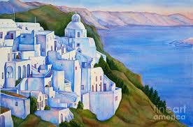 santorini greece painting santorini greece watercolor by mice wiarda constantine