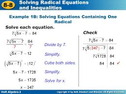example 1b solving equations containing one radical