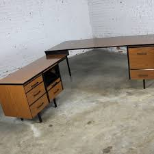 mid century modern imperial desk company walnut laminate and black metal desk with return